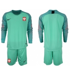 Poland Blank Green Goalkeeper Long Sleeves Soccer Country Jersey