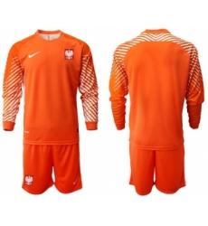 Poland Blank Orange Goalkeeper Long Sleeves Soccer Country Jersey