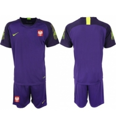 Poland Blank Purple Goalkeeper Soccer Country Jersey