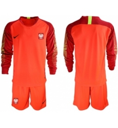 Poland Blank Red Goalkeeper Long Sleeves Soccer Country Jersey