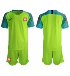 Poland Blank Shiny Green Goalkeeper Soccer Country Jersey
