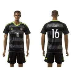 Wales #16 Ledley Black Away Soccer Club Jersey