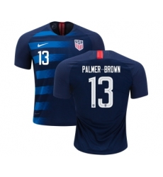 Women's USA #13 Palmer-Brown Away Soccer Country Jersey