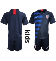USA Blank Away Kid Soccer Country Jersey
