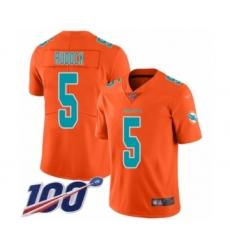 Youth Miami Dolphins #5 Jake Rudock Limited Orange Inverted Legend 100th Season Football Jersey