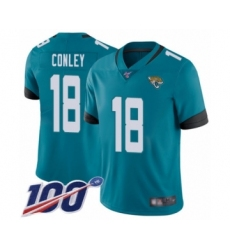 Men's Jacksonville Jaguars #18 Chris Conley Teal Green Alternate Vapor Untouchable Limited Player 100th Season Football Jersey