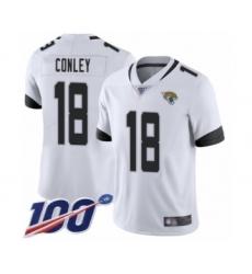 Men's Jacksonville Jaguars #18 Chris Conley White Vapor Untouchable Limited Player 100th Season Football Jersey