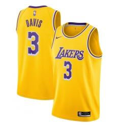 Men's Los Angeles Lakers #3 Anthony Davis Nike Gold 2020-21 Swingman Jersey