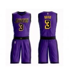 Men's Los Angeles Lakers #3 Anthony Davis Swingman Purple Basketball Suit Jersey - City Edition