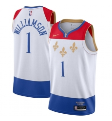 Men's New Orleans Pelicans #1 Zion Williamson Nike White 2020-21 Swingman Player Jersey