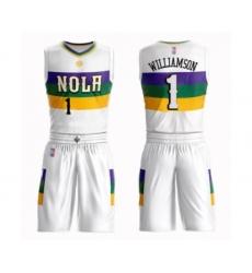 Men's New Orleans Pelicans #1 Zion Williamson Swingman White Basketball Suit Jersey - City Edition