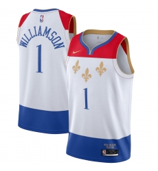 Youth New Orleans Pelicans #1 Zion Williamson Nike White 2020-21 Swingman Jersey