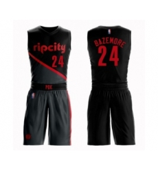 Men's Portland Trail Blazers #24 Kent Bazemore Swingman Black Basketball Suit Jersey - City Edition
