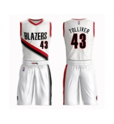 Men's Portland Trail Blazers #43 Anthony Tolliver Swingman White Basketball Suit Jersey - Association Edition