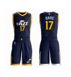 Men's Utah Jazz #17 Ed Davis Authentic Navy Blue Basketball Suit Jersey - Icon Edition