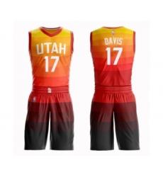 Men's Utah Jazz #17 Ed Davis Authentic Orange Basketball Suit Jersey - City Edition