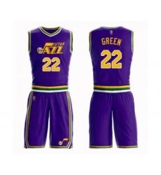 Men's Utah Jazz #22 Jeff Green Authentic Purple Basketball Suit Jersey