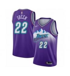 Women's Utah Jazz #22 Jeff Green Swingman Purple Hardwood Classics Basketball Jersey