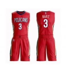 Men's New Orleans Pelicans #3 Josh Hart Swingman Red Basketball Suit Jersey Statement Edition