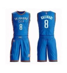 Men's Oklahoma City Thunder #8 Danilo Gallinari Swingman Royal Blue Basketball Suit Jersey - Icon Edition
