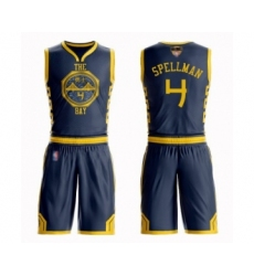 Men's Golden State Warriors #4 Omari Spellman Swingman Navy Blue Basketball Suit Jersey - City Edition