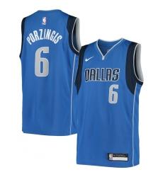 Youth Dallas Mavericks #6 Kristaps Porzingis Nike Blue 2020-21 Swingman Jersey