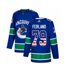 Men's Vancouver Canucks #79 Michael Ferland Authentic Blue USA Flag Fashion Hockey Jersey