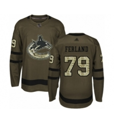 Men's Vancouver Canucks #79 Michael Ferland Authentic Green Salute to Service Hockey Jersey