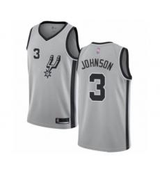 Men's San Antonio Spurs #3 Keldon Johnson Authentic Silver Basketball Jersey Statement Edition