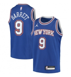 Youth New York Knicks #9 RJ Barrett Jordan Brand Blue 2020-21 Swingman Player Jersey