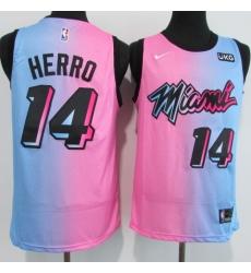 Men's Miami Heat #14 Tyler Herro Pink-Blue Swingman Basketball Jersey