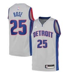 Youth Detroit Pistons #25 Derrick Rose Jordan Brand Gray 2020-21 Swingman Jersey