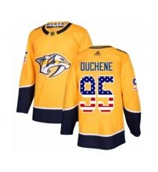 Men's Nashville Predators #95 Matt Duchene Authentic Gold USA Flag Fashion Hockey Jersey