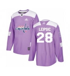 Men's Washington Capitals #28 Brendan Leipsic Authentic Purple Fights Cancer Practice Hockey Jersey
