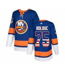 Men's New York Islanders #75 Samuel Bolduc Authentic Royal Blue USA Flag Fashion Hockey Jersey