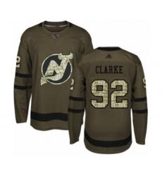 Men's New Jersey Devils #92 Graeme Clarke Authentic Green Salute to Service Hockey Jersey
