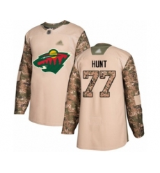Men's Minnesota Wild #77 Brad Hunt Authentic Camo Veterans Day Practice Hockey Jersey