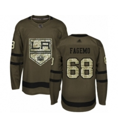 Men's Los Angeles Kings #68 Samuel Fagemo Authentic Green Salute to Service Hockey Jersey