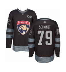 Men's Florida Panthers #79 Cole Schwindt Authentic Black 1917-2017 100th Anniversary Hockey Jersey