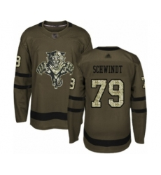Men's Florida Panthers #79 Cole Schwindt Authentic Green Salute to Service Hockey Jersey