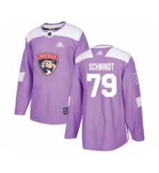 Men's Florida Panthers #79 Cole Schwindt Authentic Purple Fights Cancer Practice Hockey Jersey