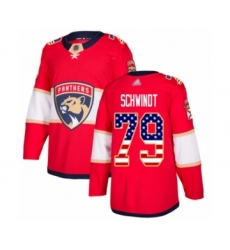 Men's Florida Panthers #79 Cole Schwindt Authentic Red USA Flag Fashion Hockey Jersey