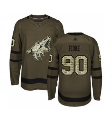Men's Arizona Coyotes #90 Giovanni Fiore Authentic Green Salute to Service Hockey Jersey