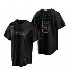 Men's Nike Miami Marlins #5 Jon Berti Black Alternate Stitched Baseball Jersey