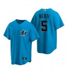 Men's Nike Miami Marlins #5 Jon Berti Blue Alternate Stitched Baseball Jersey