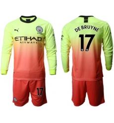 Manchester City #17 De Bruyne Third Long Sleeves Soccer Club Jersey
