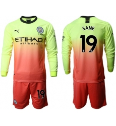 Manchester City #19 Sane Third Long Sleeves Soccer Club Jersey