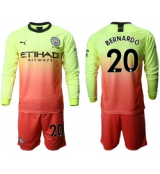 Manchester City #20 Bernardo Third Long Sleeves Soccer Club Jersey