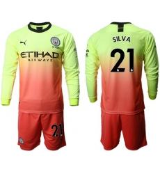Manchester City #21 Silva Third Long Sleeves Soccer Club Jersey