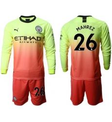 Manchester City #26 Mahrez Third Long Sleeves Soccer Club Jersey